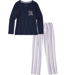 pigiama con pantaloni in tessuto (blu) - bpc bonprix collection