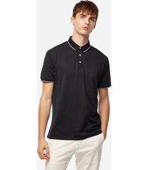 color sólido negro cuello y rayas de manga corta camiseta de cuello de solapa para hombre de manga corta