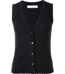 dion lee sleeveless knit vest top - blue