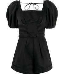 self-portrait short-sleeve fitted playsuit - black