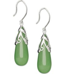 sterling silver earrings, jade leaf top teardrop earrings