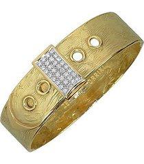 torrini designer bracelets, zero - 18k yellow gold and diamond pave cuff bracelet
