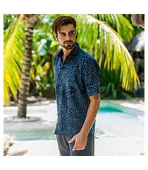 men's cotton batik shirt, 'pixel play' (indonesia)