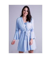 hobby roupão bravaa modas robe amarrar lingerie 241 azul celeste