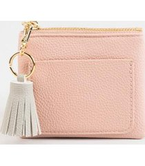 clara pebbled tassel pouch - blush