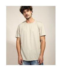 camiseta masculina básica manga curta gola careca kaki