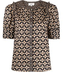 ba & sh colette fitted blouse - black