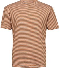 slhmartin stripe ss high neck tee b t-shirts short-sleeved brun selected homme