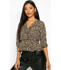 leopard print wrap peplum top, brown