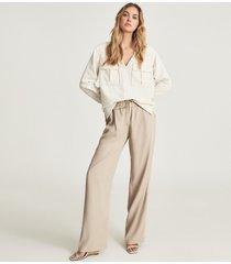 reiss fleur - twin pocket overhead shirt in cream, womens, size 14