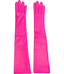 manokhi long-length leather gloves - pink