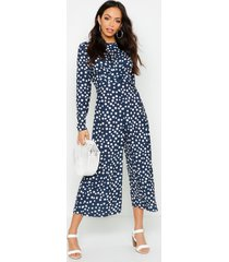 twist front polka dot jumpsuit, navy