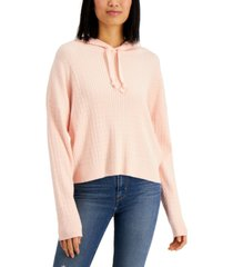 hooked up by iot juniors' hooded cable-knit sweater