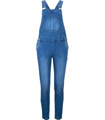 salopette di jeans cropped con poliestere riciclato (blu) - john baner jeanswear