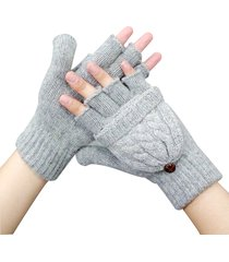 new women wool glvoes flip twist girl cotton half fingers gloves winter female f