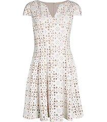 cap-sleeve eyelet fit-&-flare dress