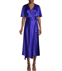 dammeriah satin cape wrap dress