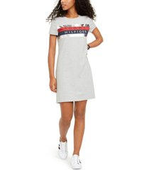 tommy hilfiger foil graphic-print t-shirt dress