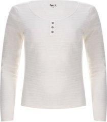 camiseta mujer textura con pechera color blanco, talla 12