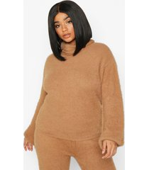 plus super soft knitted roll neck sweater, camel