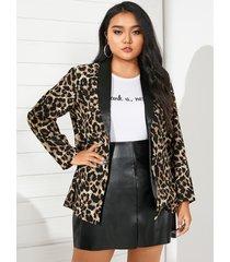 yoins plus talla cuello de solapa leopardo manga larga blazer
