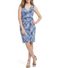 women's nic+zoe crossover tie dye twist detail dress, size xx-large - blue