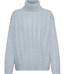 frosted cabel knit turtleneck coltrui blauw camilla pihl