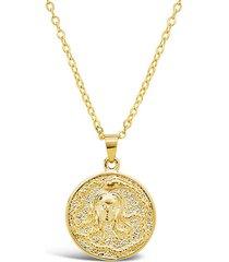 14k gold vermeil engraved medusa medallion necklace