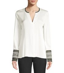 kobi halperin women's jona embroidered-cuff stretch-silk blouse - ivory - size xs