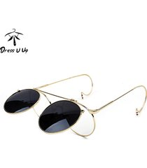 steampunk vintage flip sunglasses men designer round sunglasses metal coating su