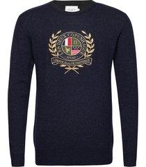 egalité knit gebreide trui met ronde kraag blauw les deux