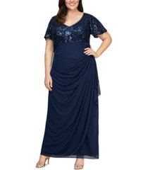 alex evenings plus size embroidered-sequin empire-waist gown