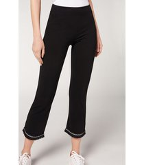 calzedonia flared cropped leggings woman black size m