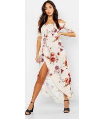 floral off shoulder maxi dress, stone