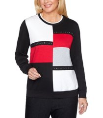 alfred dunner well red colorblocked studded top