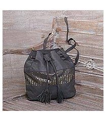 leather bucket bag, 'glittering dew in graphite' (indonesia)