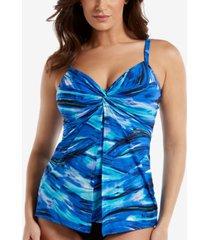 miraclesuit breakers love knot twist-front faux-flyaway tankini top women's swimsuit