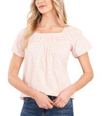 cece printed square-neck top