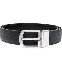 bally garter textured leather belt - black