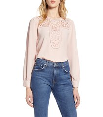 women's halogen lace & crepe blouse, size x-small - pink