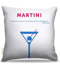 almofada nerderia bebidas vetor martini 45x45cm - multicolorido - dafiti