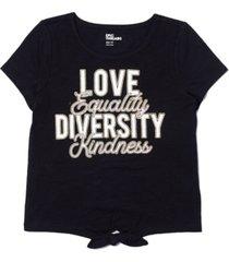 epic threads big girls short sleeve front tie diversity text tee