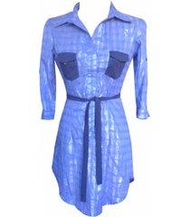 blusón camisero manga 3/4 sarab/brl-007ec azul