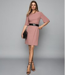 reiss myra - tailored wrap front dress in pink, womens, size 0