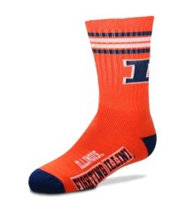 for bare feet illinois fighting illini youth 4 stripe deuce crew socks