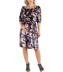 24seven comfort apparel floral off shoulder knee length black velvet maternity dress