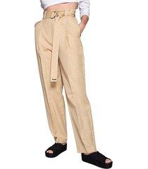 pantalon en lin et coton taille haute