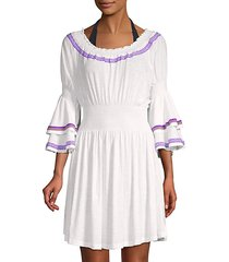 layered-sleeve cotton-blend mini coverup dress