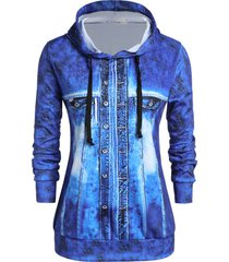 plus size 3d faux denim jacket print pullover hoodie