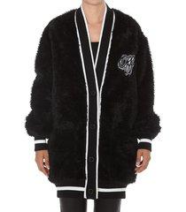 off-white fake fur college cardigan